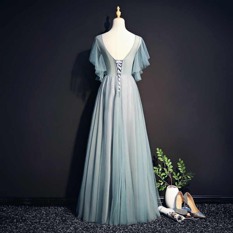 Вечерние платья Длинные 2019 В шеи тюль, аппликация, бисер Вечерние платья вечерние платья Robe De Soiree Длинные платье вечернее