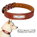 Персонализированные настоящий кожаный ошейник для собак Регулируемый выгравированы название идентификатора ошейники для средних Большой Собака coleira para cachorro - фото