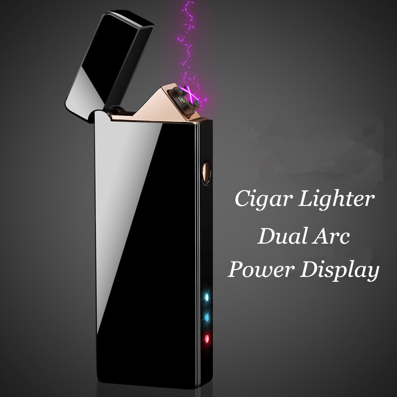 2018 New Dual Arc USB Lighter Rechargeable Electronic Cigar Lighter Power Display Cigarette Plasma Palse Pulse Thunder Lighter-in Cigarette Accessories from Home & Garden