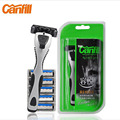 Canfill afeitadora manual holder + 6 pcs hojas de afeitar maquinillas de afeitar máquinas de afeitar de seguridad de afeitar rotatoria cabeza de corte de acero inoxidable