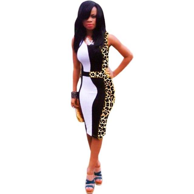 fd47247708 Women Sexy Club Plus Size Dresses New Fashion Stretch Waist Mid Calf O Neck  Leopard Print Flowers Bodycon Party Tank Dress