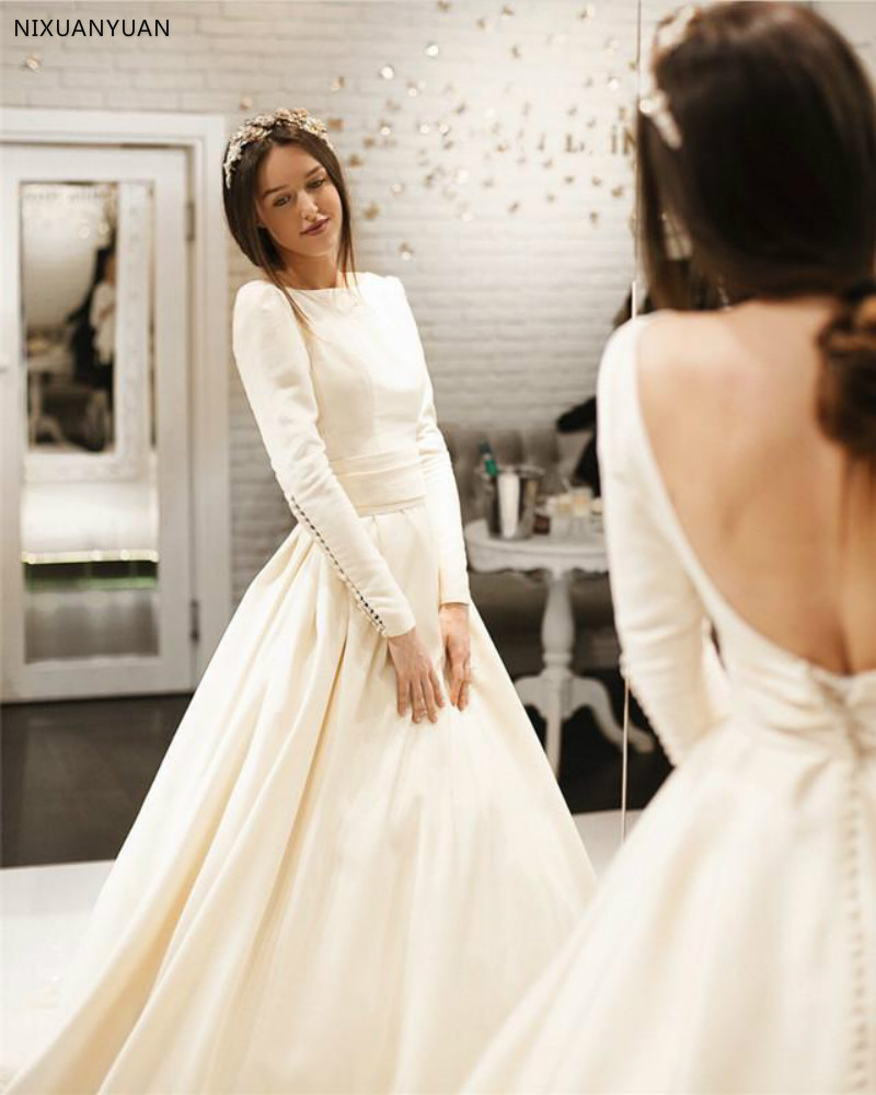 2019 Round Neck Bridal Gown Long Sleeves Open Back Satin Wedding Dresses Bride Gown Sweep Train Elegant A Line Wedding Dresses