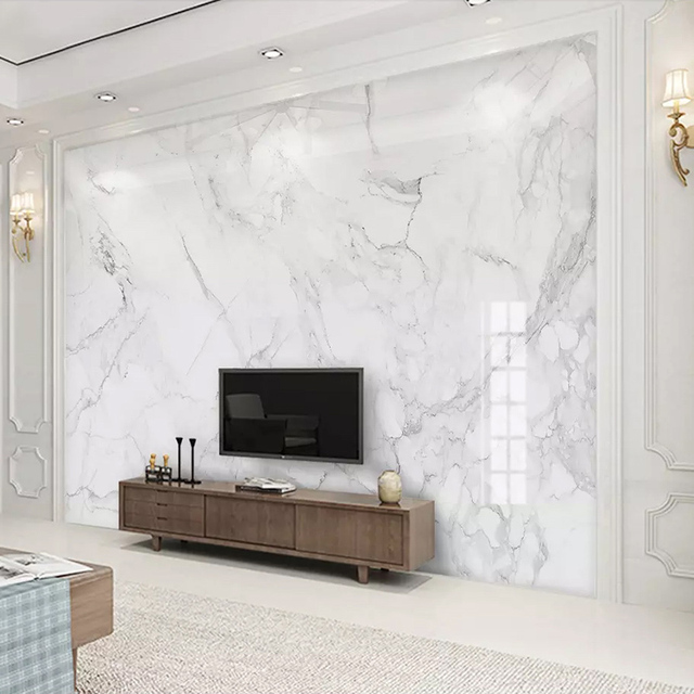 Photo Wallpaper Modern Simple White Marble Texture Murals Living ...