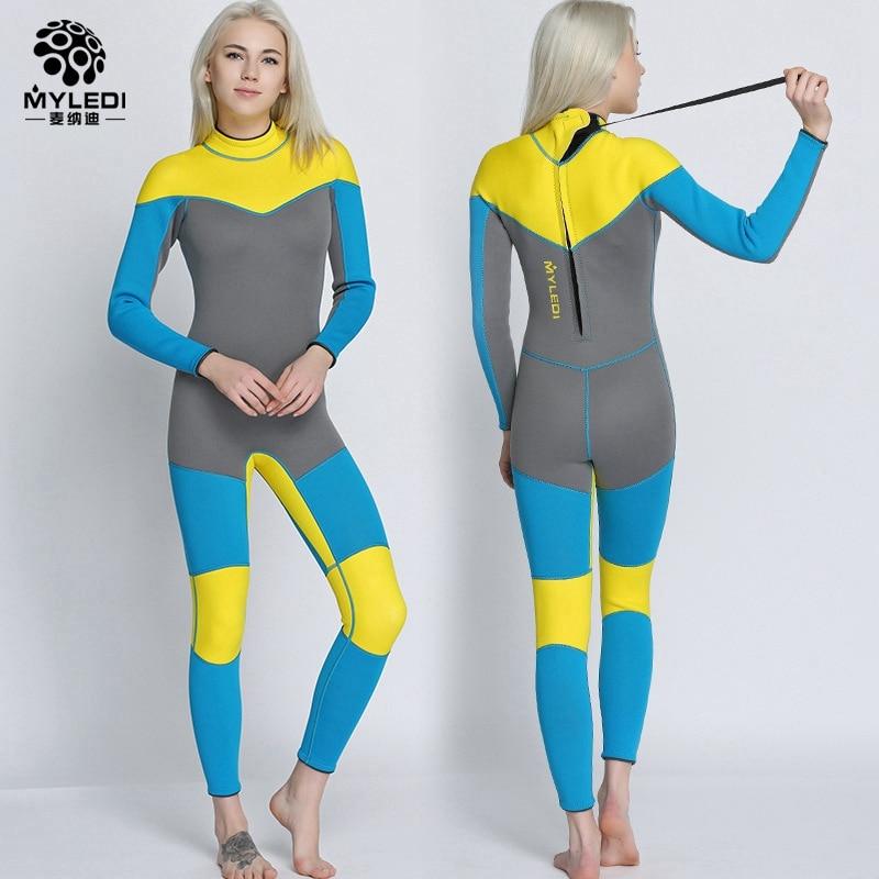 3mm women neoprene jumpsuit diving suits surfing clothing female long sleeve Spearfishing snorkeling swimsuit multicolor swimwea