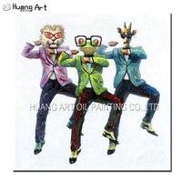 Gangnam סגנון כיף רוקד 3 אנשים תקציר בעלי החיים ראש אדם גוף אמנות ציור by שמן עבודת יד קישוט צבוע בית