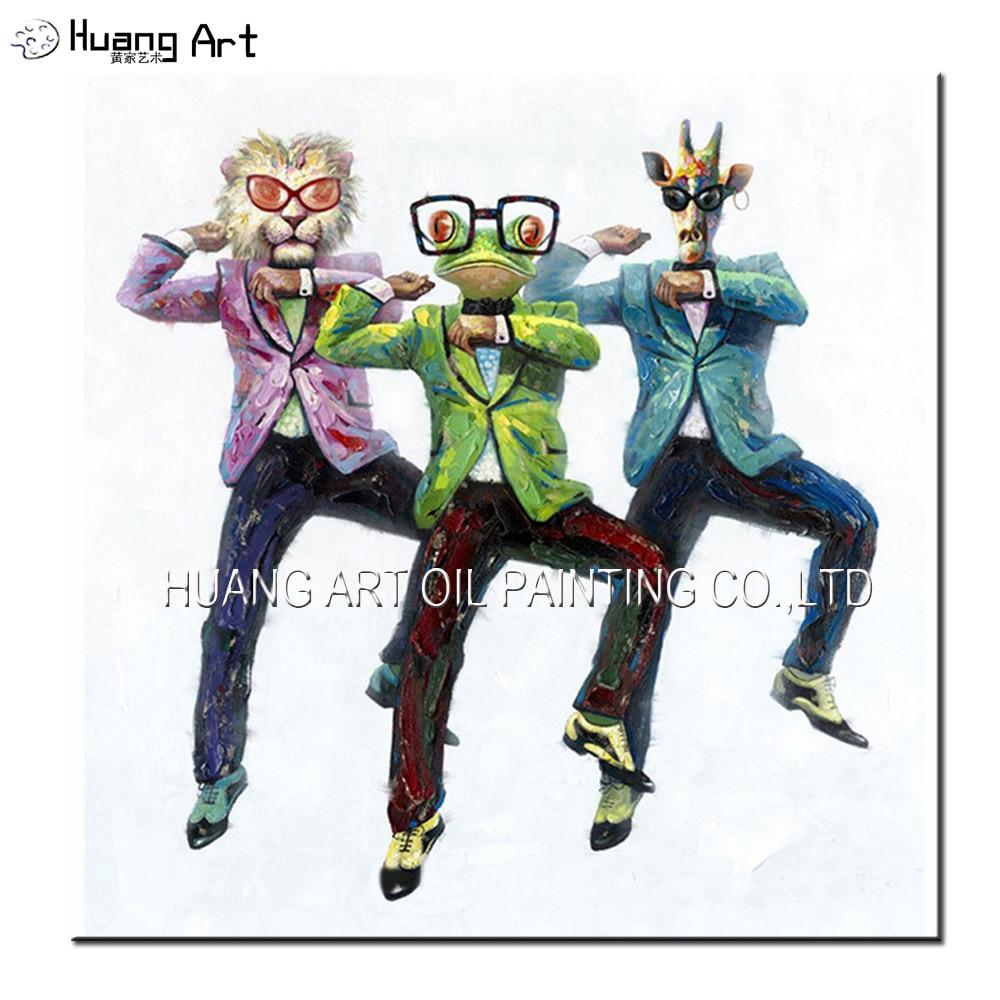 Gangnam სტილი გართობა ცეკვავენ 3 ადამიანი აბსტრაქტული ცხოველის თავი ადამიანის სხეულის ხელოვნების ნიმუში ნავთობის ფერწერა ხელით მოხატული დეკორაციისთვის სახლისთვის