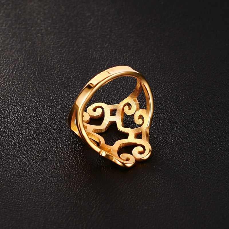 Golden แหวนผู้หญิงสแตนเลสสตีล Heart Hollow น่ารักค็อกเทลแหวนนิ้วกลาง
