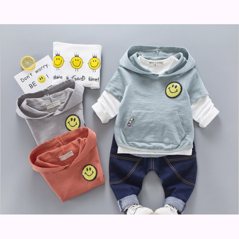 2017 Sale Infantis Children Spring smile Cotton Boys Tops And Tees Long Sleeve T Shirt +pants 3pc/set ,kids Clothes 1-3year 2015 sale spring cotton long sleeve children t shirts for girls russian letter boys clothes kids t shirt 2 10 age
