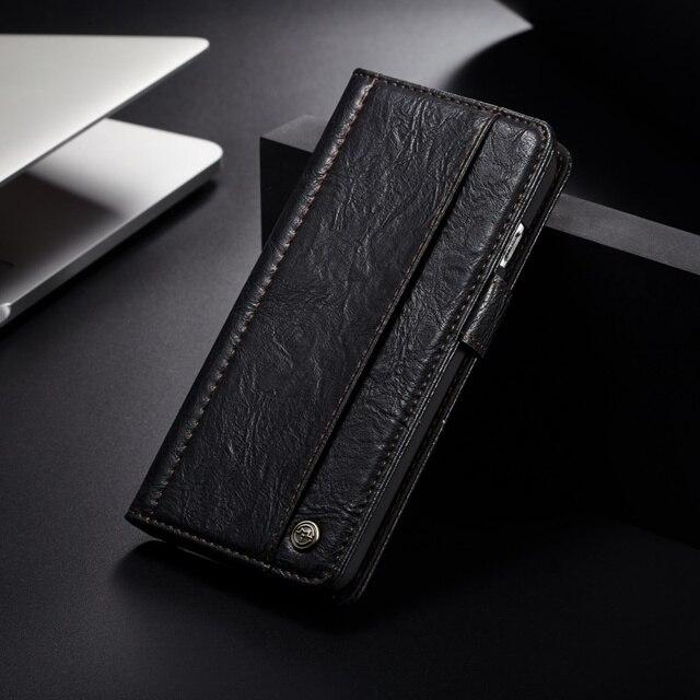 CASEME for Samsung Galaxy S8 Case Vintage Style Folio Flip PU Leather Flip Cover Case for Samsung Galaxy S8 SM-G950 Capa - Black
