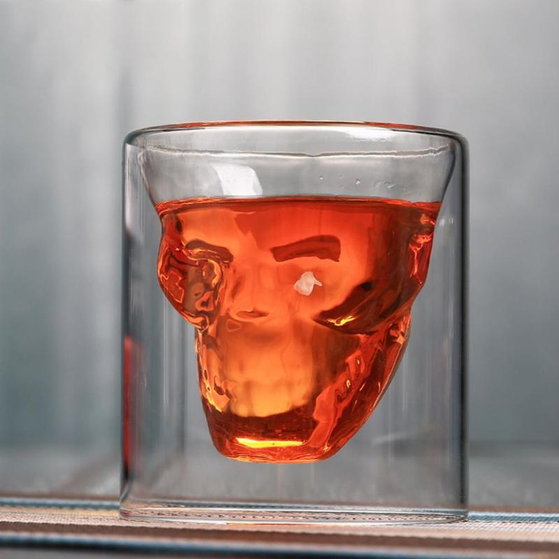 Halloween Double Layers Shot Transparent Crystal 2 Sizes Skull Head Glass Tea Cup For Whiskey Wine Vodka Bar Club Beer Wine