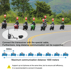Image 5 - 3pcs Fodsports FX8 citofono moto rcycle casco auricolare bluetooth Radio FM 8 Piloti Gruppo di Conversazione 1000m intercomunicador moto