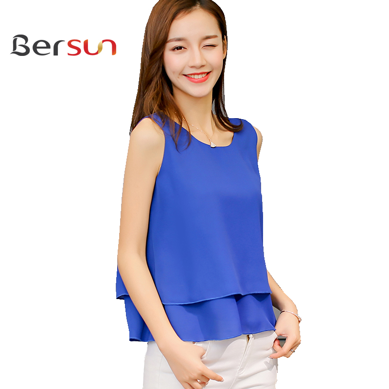 Women'S Summer Sleeveless Spliced Tops Royal Blue Red Chiffon Blouse Shirt Women 2017 Casual Ladies Office Blouses