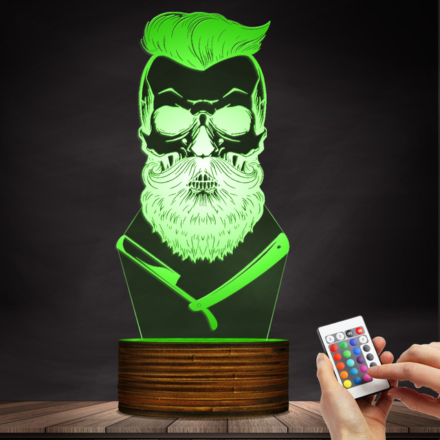 BEARD SKULL 3D LED LAMP