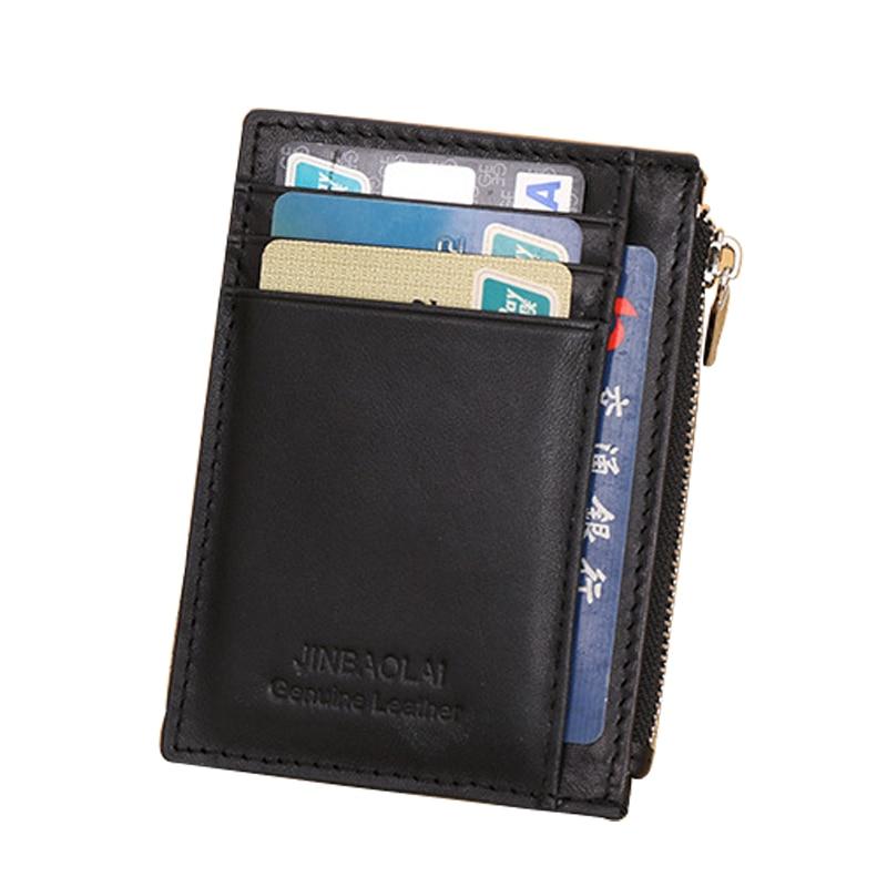 JINBAOLAI Men Wallets Genuine Leather Short Purses Mini Small Wallet Coin Pocket Multi-Card Bit Zipper Male Wallet Coin Purse