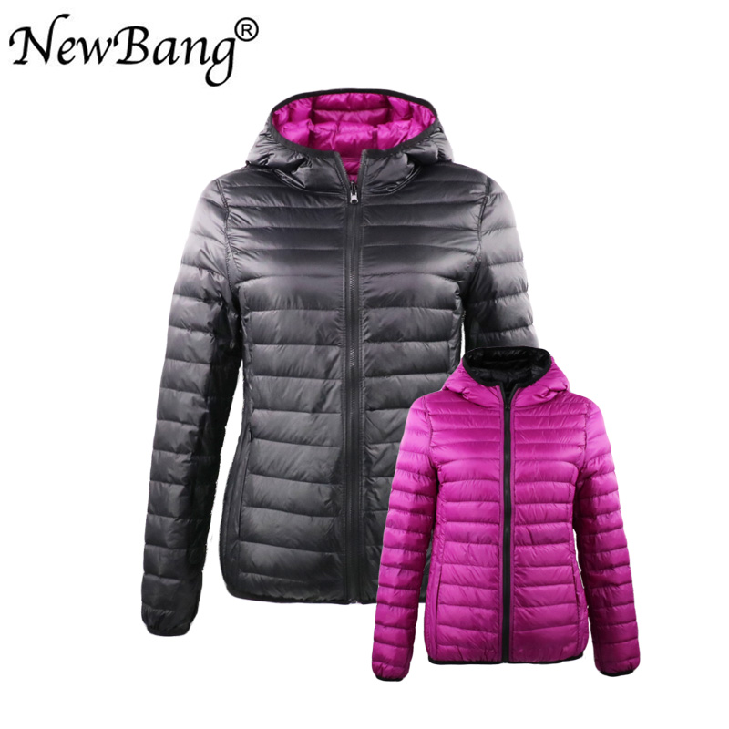 Newbang Duck Coats Girls Feather Hooded Extremely Gentle Down Jacket With Carry Bag Journey Double Aspect Reversible Jackets Plus Measurement