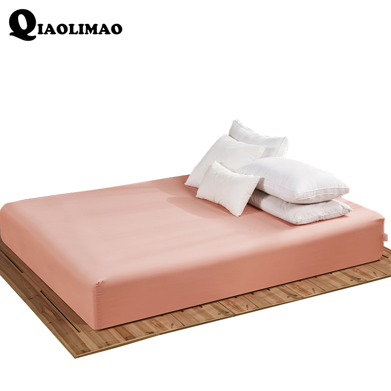 Polyester Fitted Sheet Solid Color Bed Sheets With Elastic Band Mattress Cover Bed Linen 160*200 CM Can Be Customized Wholesale