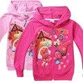 3 designs Kids Girls Cartoon Trolls Zipper Hooded Jacket coat outerwear long sleeve Cotton hoodies jumper sweatshirts 5pcs/lot