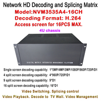 New HDMI HD IP Video Matrix Switcher 5MP/2MP/1.3/1MP IP Decoder 4U Case Chassis Plus Decode IP Cameras for 16pcs Monitor Display
