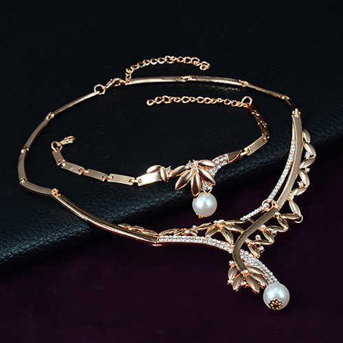 Hochzeit Partei Blatt Faux Perle Anhänger Choker Halskette Ring Ohrringe Armband Set Ankunft A8FG