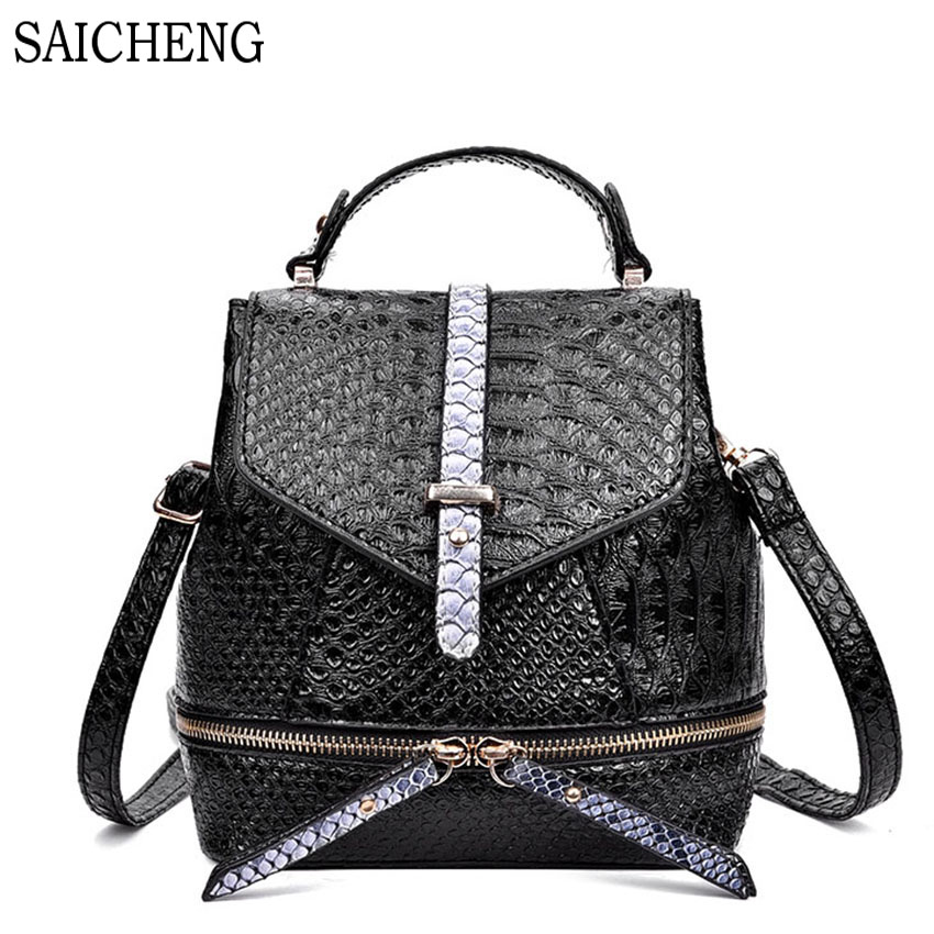 SAICHENG Brand High Quality Aligator Leather Backpacks For Teenage Girls Women s Backpack 2017 Hot Female
