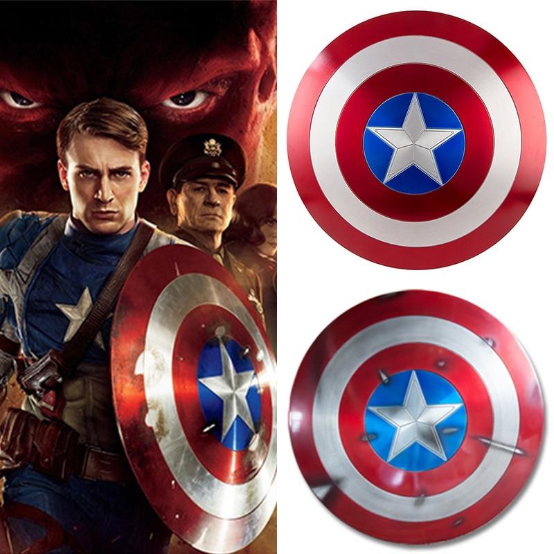 Aluminium métal 1:1 Cosplay Prop Avengers Endgame capitaine amérique bouclier capitaine amérique Steve Rogers bataille dommages bouclier cadeau