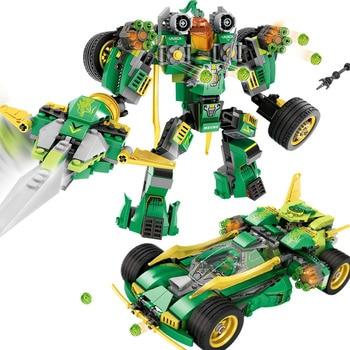 509pcs 2in1 Transformed Mech Car Building Blocks Compatible Legoed Ninjago Armor Figures Bricks Educational Toys for children