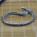 Personalidade do vintage Nó Tailandês de Prata Sólida 925 Pulseira de Prata Esterlina Homens