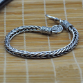 Vintage Personality Knot Thai Silver Solid 925 Sterling Silver Bracelet Men