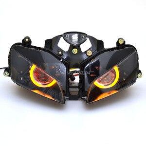 Image 2 - Projecteur caché 2.8 pouces, projecteur assemblé, phare ambre yeux dange rouge, adapté pour Honda CBR600RR 03 06