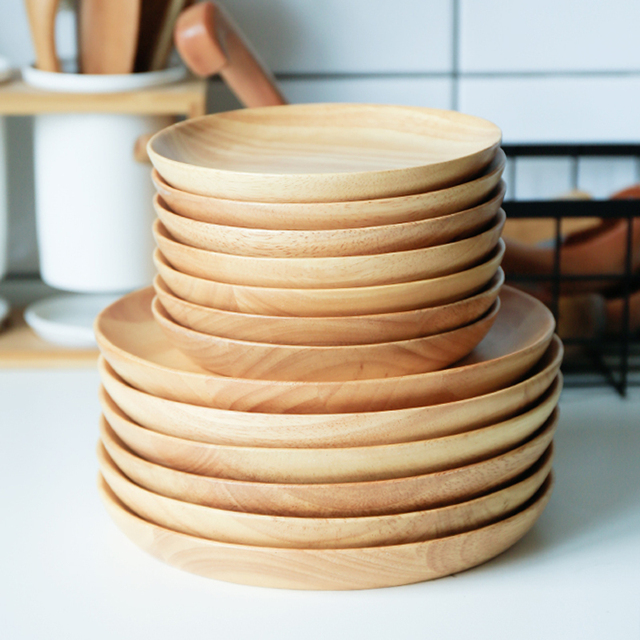 2pcs Round Wooden Plate Set Large Small Wood Snack Fruit Dishes Cake Plates Serving Tray Hand