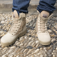 Outdoor Sport Army Men's Tactical Boots CP Camo Male Combat Shoes Military leather Boots  commando Martin  shoes