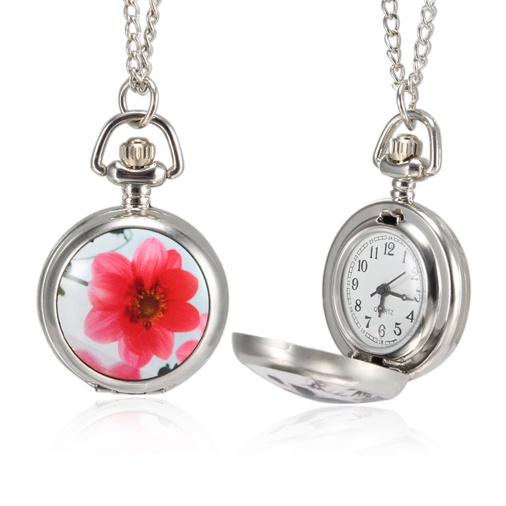 1pc Men Women Pocket Watch Retro Ceramic Case With Chain LL@17