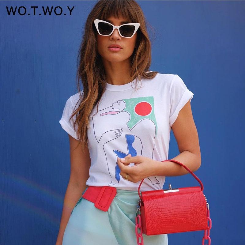 WOTWOY 2019 Funny Abstract Print T Shirt Women Summer White Soft O Neck Tops Short Sleeve Women Tees Cotton Harajuku T shirts T-Shirts    - AliExpress