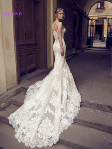 Image 2 - 흰색 Backless 레이스 인어 웨딩 드레스 2020 새로운 섹시한 Fishtail 웨딩 드레스 신부 드레스 Vestido 드 Noiva 로브 드 Mariage