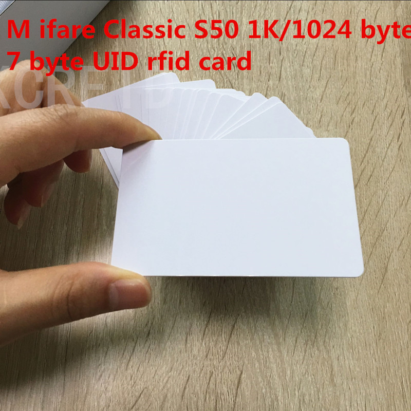 Original 13.56mhz  7 Byte UID Of MF1 S50 Chip 1k Memory Writable Rfid Card For Access Control System 5pcs