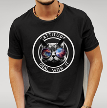 Cattitude Deal With It Black Tshirt Mens Womens Unisex Cat Glasses Attitude Geek Cool Casual pride t shirt men Unisex New