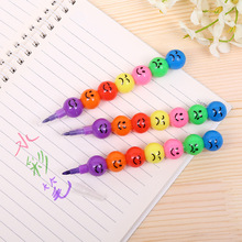 Stationery Pencil Crayons Kids 7-Colors Smile Cartoon for Wax Student Gift Haws Graffiti