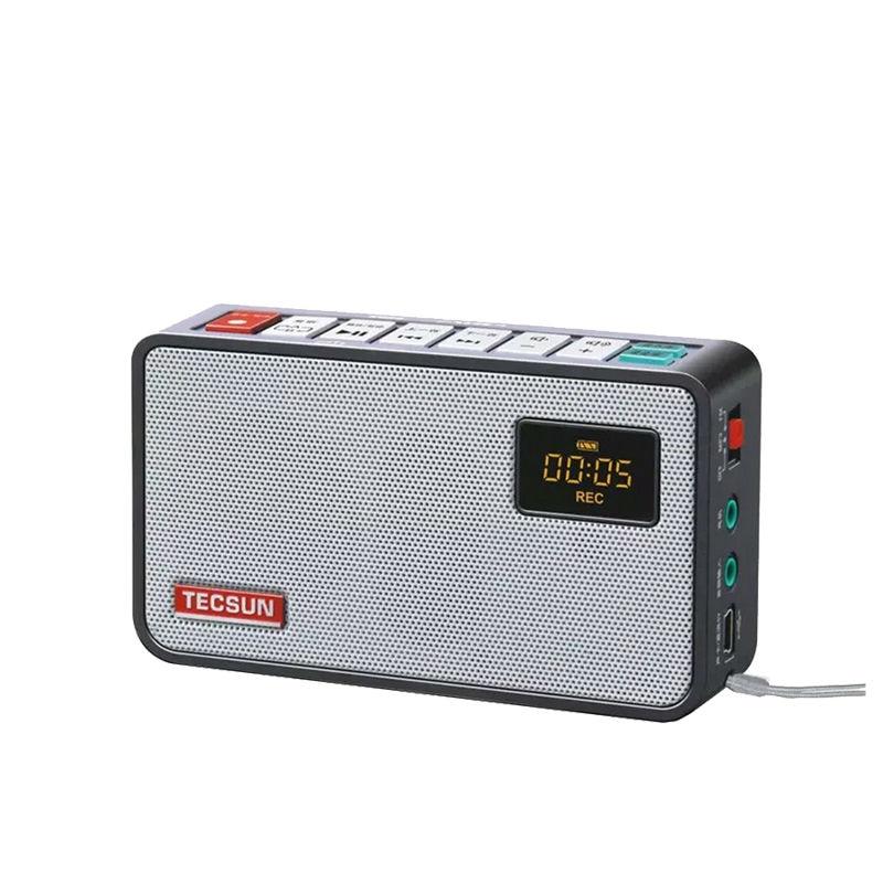 Free Shipping  TECSUN ICR-100 TF Card Mini-loudspeaker Recorder MP3 Player Radio FM  76-108 With 16G Max Memory TF card