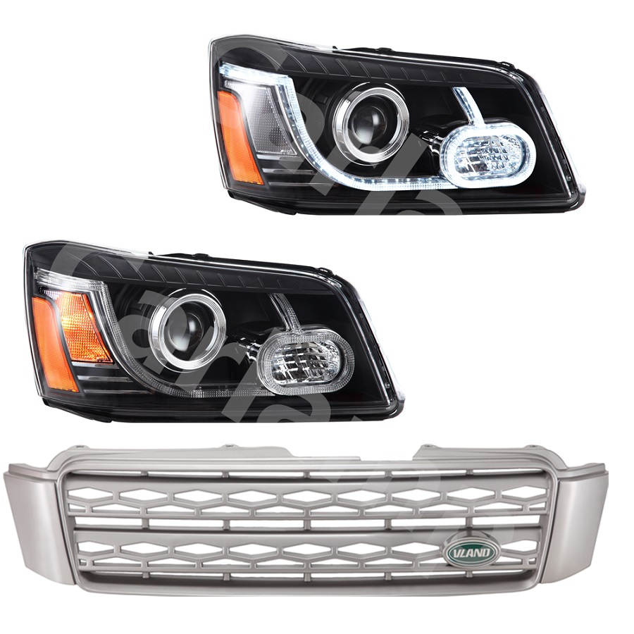 Free shipping Vland factory For Highlander kluger LED Headlight and grilles waterproof 2000 2007 car styling headlamp free shipping vland factory car parts for camry led taillight 2006 2007 2008 2011 plug and play car led taill lights