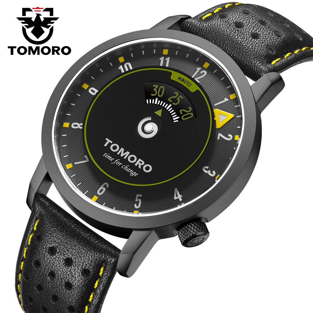 TOMORO New Time Speed Indicator Inspired Creative Watch Unique fashion Casual Men Leather Sports Gift Quartz Watches relogio kora крем для рук и ногтей восстанавливающий 100 мл