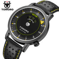 TOMORO New Time Speed Indicator Inspired Creative Watch Unique fashion Casual Men Leather Sports Gift Quartz Watches relogio