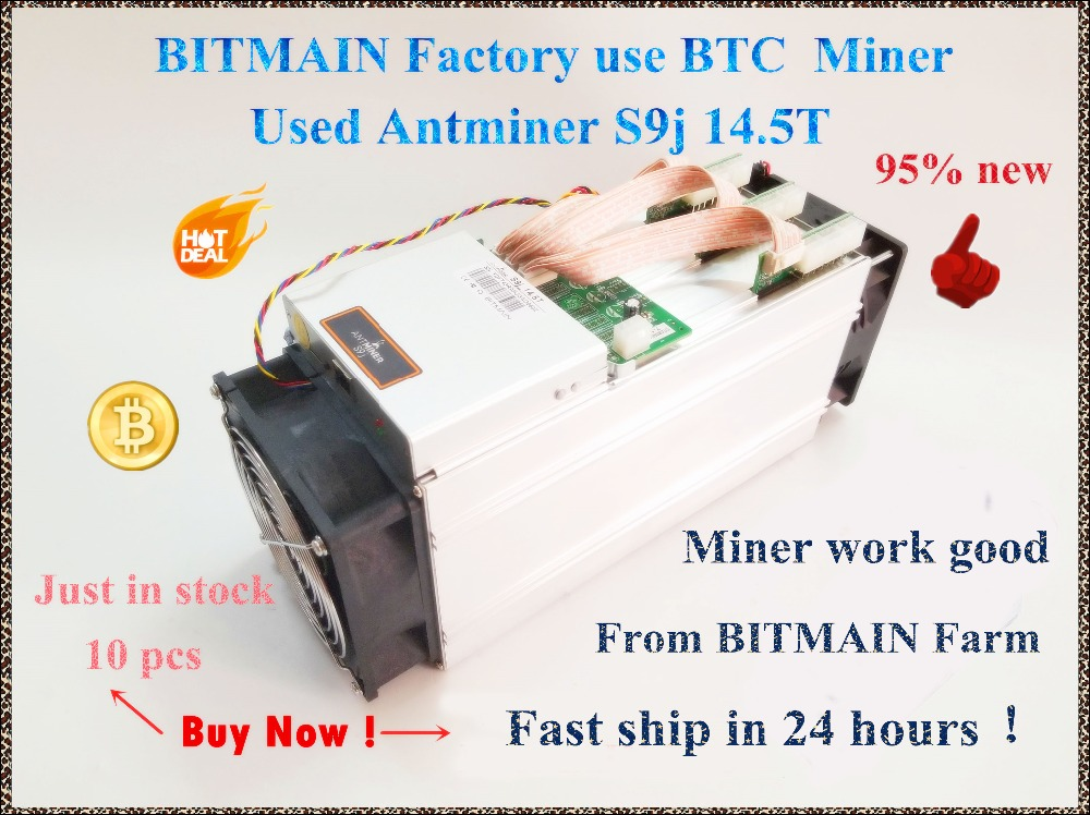 90%-95% New AntMiner S9j 14.5T Bitcoin Asic Btc BCH Miner Better Than S9 S9i 13T 13.5T 14T WhatsMiner M3 M3X BITMAIN Mining Farm