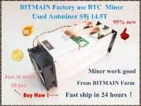 90%-95% New AntMiner S9j 14.5T Bitcoin Asic Btc BCH Miner Better Than S9 S9i 13T 13.5T 14T WhatsMiner M3 M3X BITMAIN Mining Farm