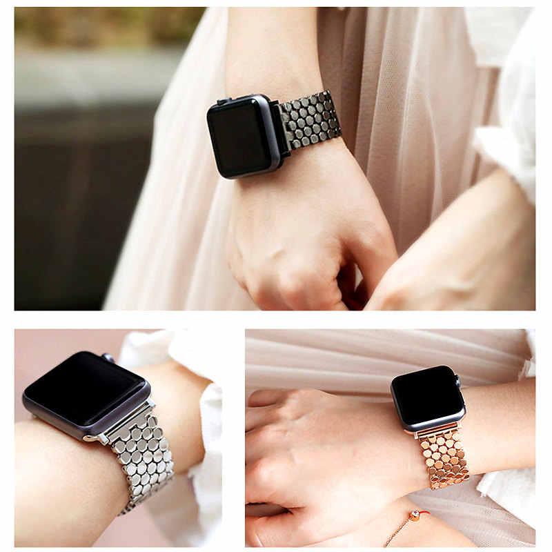 Correa de acero inoxidable para Apple watch banda 38mm 42mm iwatch 4 banda 44mm 40mm brillo Metal Correa enlace pulsera Apple watch 5 4 3 2