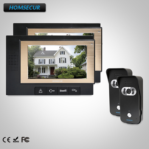 HOMSECUR 7 Video Door Phone Intercom System+IR Night Vision for House/Flat : TC021-B +TM702-B