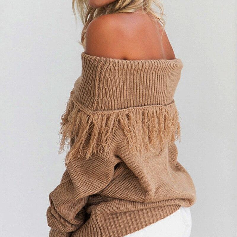 Tassel Pattern Boat Neck Long Sleeves Knitting Sweater Women Autumn