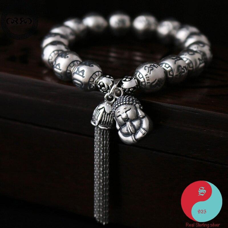 Femmes 10mm perle ethnique véritable pur 925 argent Sterling rétro chinois chance gland bracelets tibétain bouddha bijoux fins