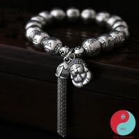 Women 10mm bead Ethnic Real Pure 925 Sterling Silver retro chinese luck Tassel bracelets tibetan Buddha Fine Jewelry