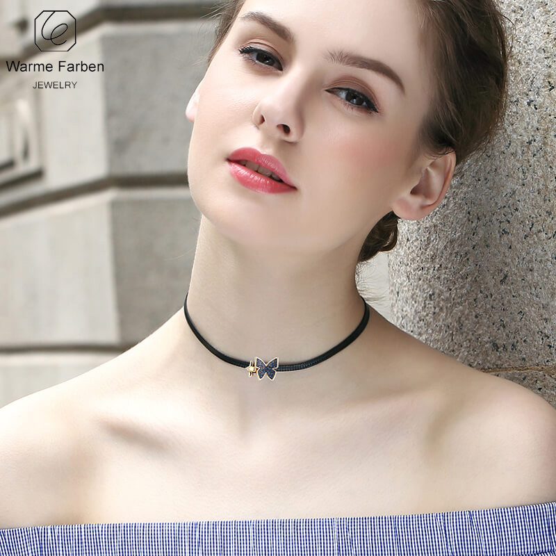 WARME FARBEN Fashion Jewelry Women Necklace Made With Swarovski Crystal  Black Rope Chain Butterfly Bow Clavicle b99d16e7188f