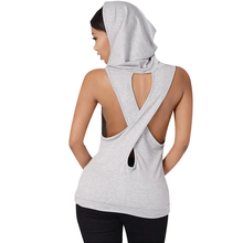 Fitness Backless Cross Sport T Shirt Women Breathable Sleeveless Yoga Shirt Gym Clothes